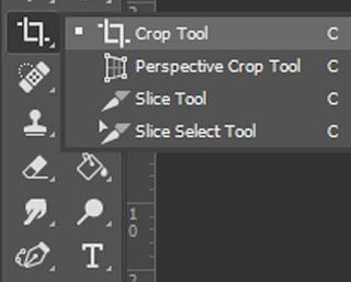 Menu Crop Tool pada Photoshop