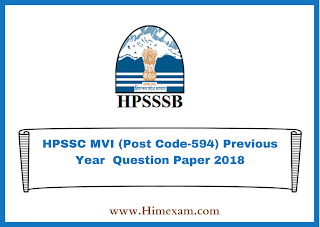 HPSSC MVI (Post Code-594) Previous Year  Question Paper 2018