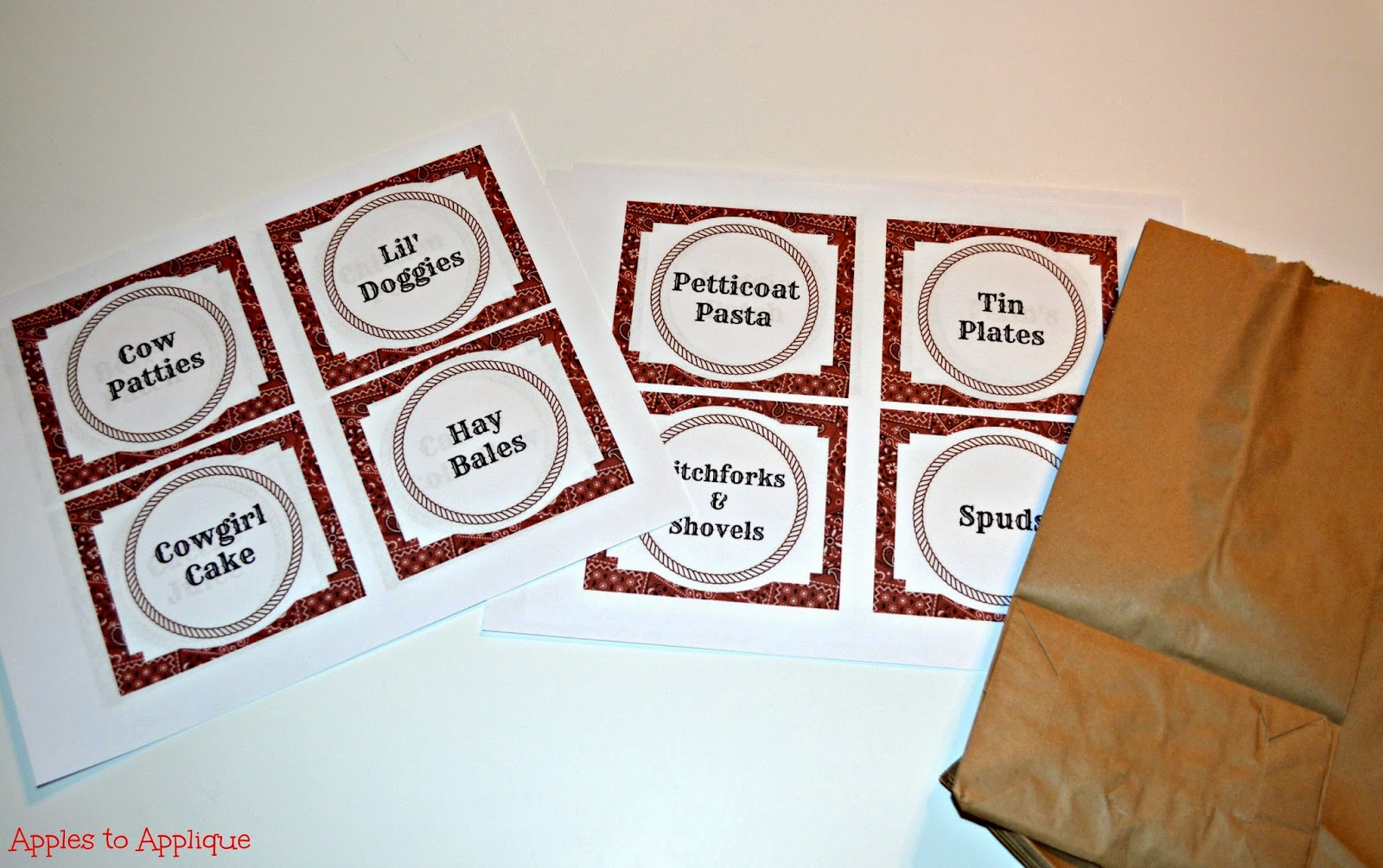 Apples To Applique Western Party Food Labels Free