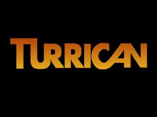 Logo Turrican, con el texto en mayúsculas y en amarillo con fondo negro