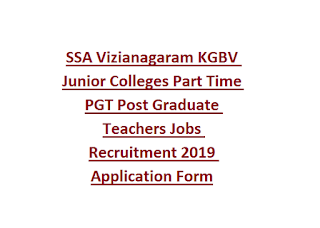 SSA Vizianagaram KGBV Junior Colleges Part Time PGT Post Graduate Teachers Jobs Recruitment 2019 Application Form