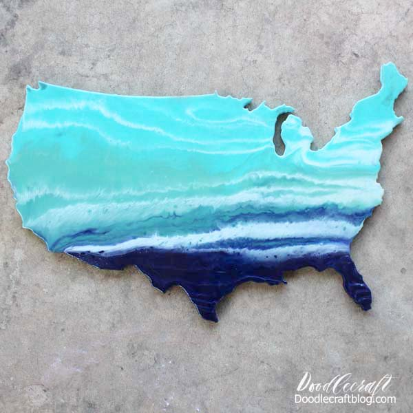 Resin paint pour ocean waves across the United States wood cut out