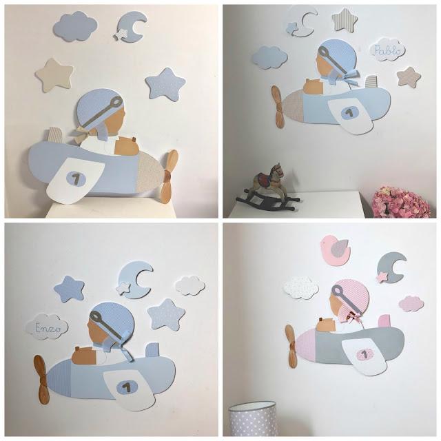 silueta de aviador para habitaicón infantil- mural decoración infantil
