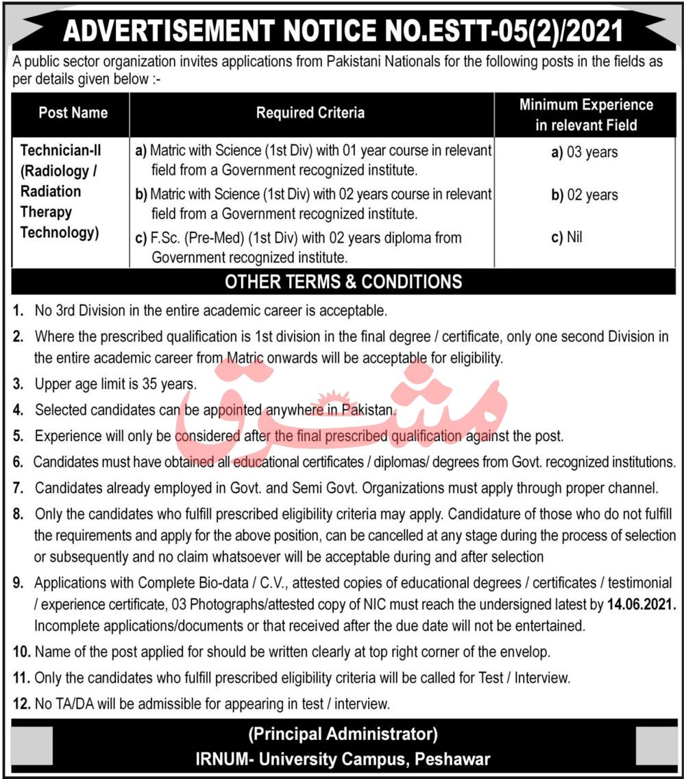 Institute of Radiotherapy And Nuclear Medicine IRNUM University Campus Peshawar Jobs 2021 in Pakistan