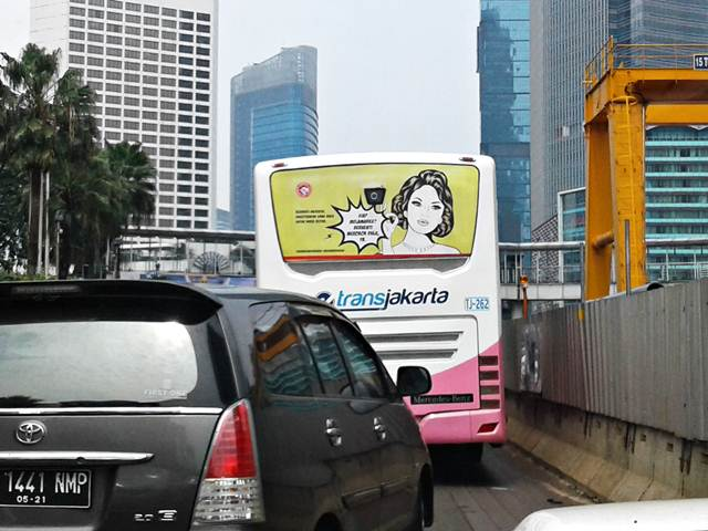 Anti Smoking Ads On Jakarta Bus