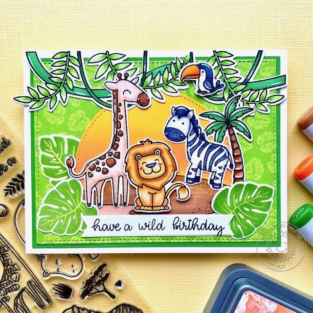 Sunny Studio Stamps: Savanna Safari Tropical Scenes Radiant Plumeria Frilly Frame Dies Stitched Semi-Circle Dies Birthday Card by Lynn Put
