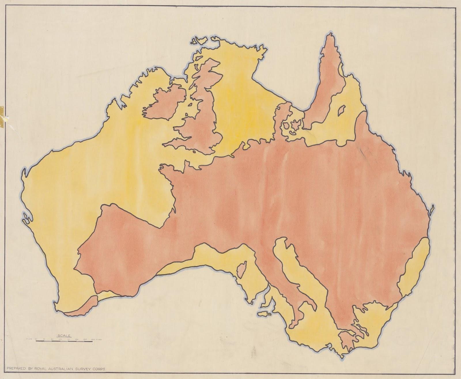 Australia and Europe comparative map
