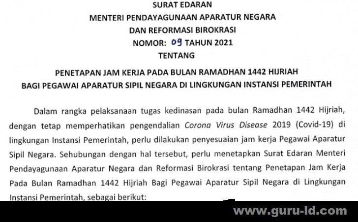 gambar surat edaran menpan rb no 9 tahun 2021