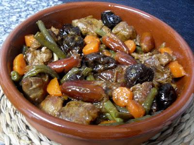 Tajín de cordero con verduras.