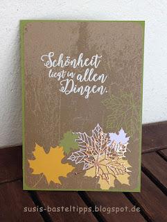 """Stampin' Up! Karte mit dem Kartenset Erinnerungen und mehr """"Farbenspiel"""", Thinlits """"aus jeder Jahreszeit"""" und stempelset """"jahr voller Farben"""" buntes laub"""