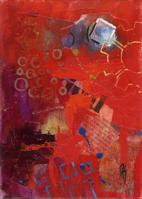 art abstract acrylic paper collage red