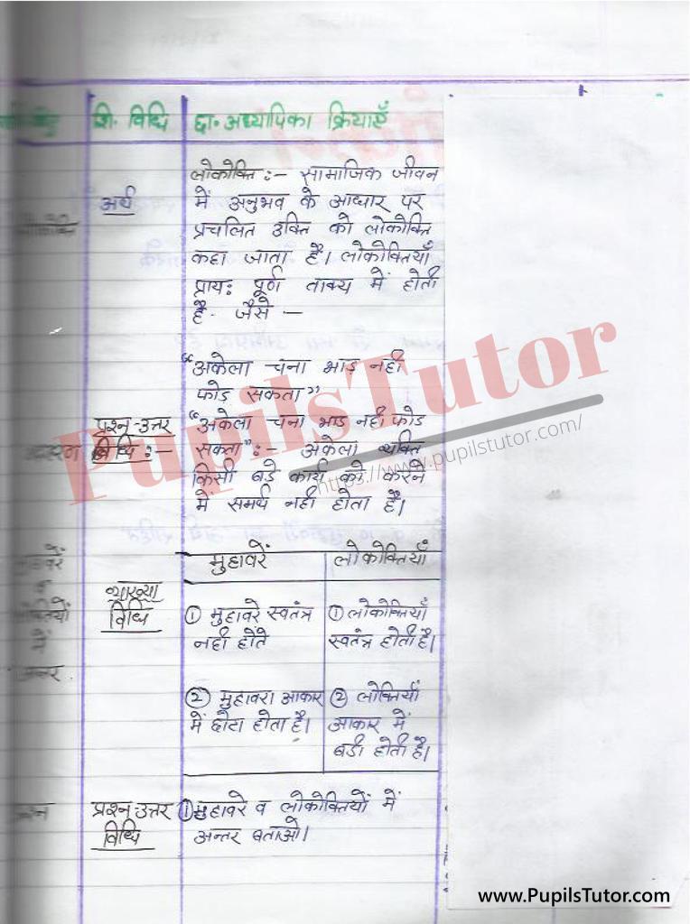 Lokoktiyan  Lesson Plan in Hindi for B. Ed and DELED