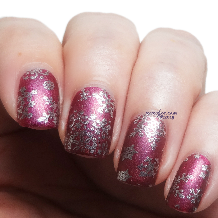 xoxoJen's swatch of Litearry Lacquers For the Rest of Us Snowflake Stamping
