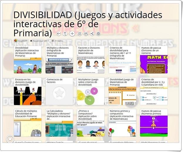 """""""22 Juegos, actividades y materiales para el estudio de LA DIVISIBILIDAD en 6º de Primaria"""""""