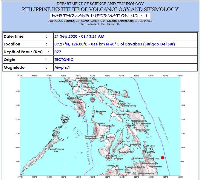 Magnitude 6.1 earthquake hits Surigao Del Sur