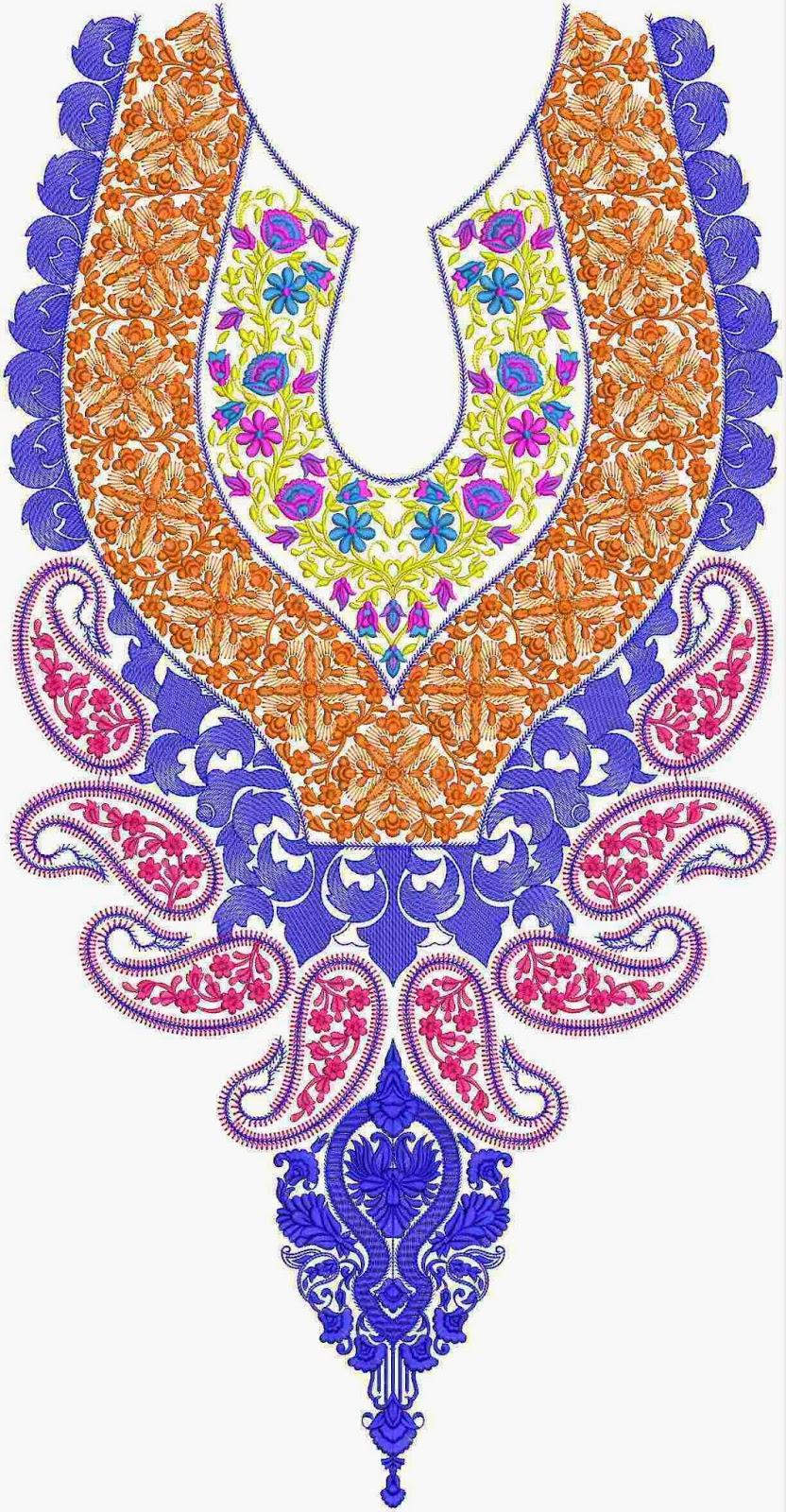 Embdesigntube: Nice Neck Embroidery Designs