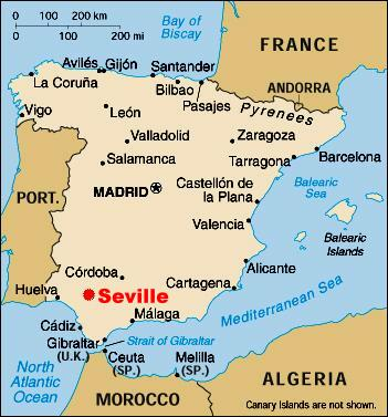 Seville map - Seville on map (Andalusia - Spain) |Seville Spain Map