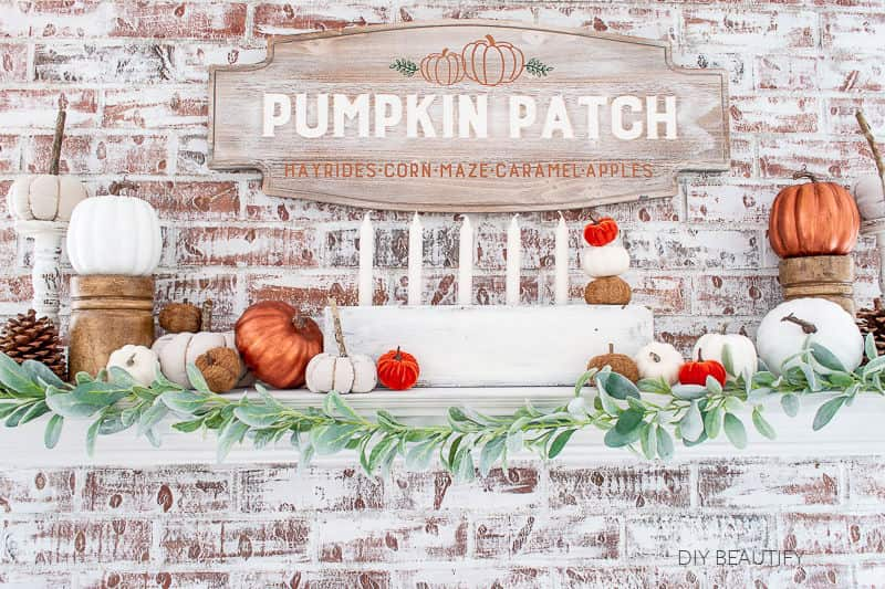 pumpkin patch on mantel