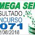 Resultado da Mega Sena concurso 2071 (22/08/2018)