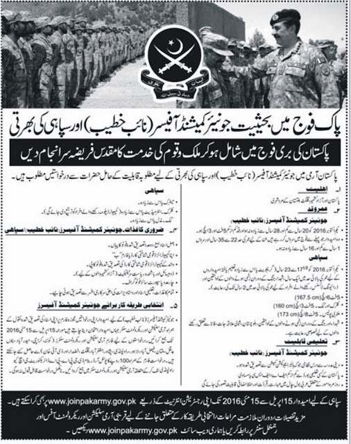 Join Pakistan Army Jobs as Junior Commissioned Officer , Naib Khateeb & Sipahi