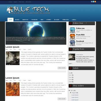 Blue Tech blogger template. template blogspot free