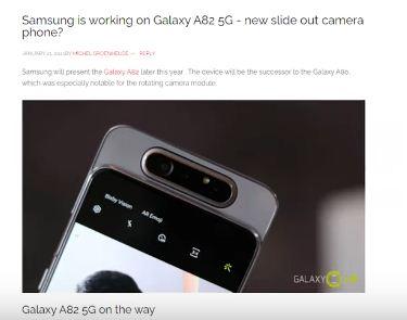 Samsung Galaxy A82, Smartphone, Slide Out Camera, Pop-Up Camera