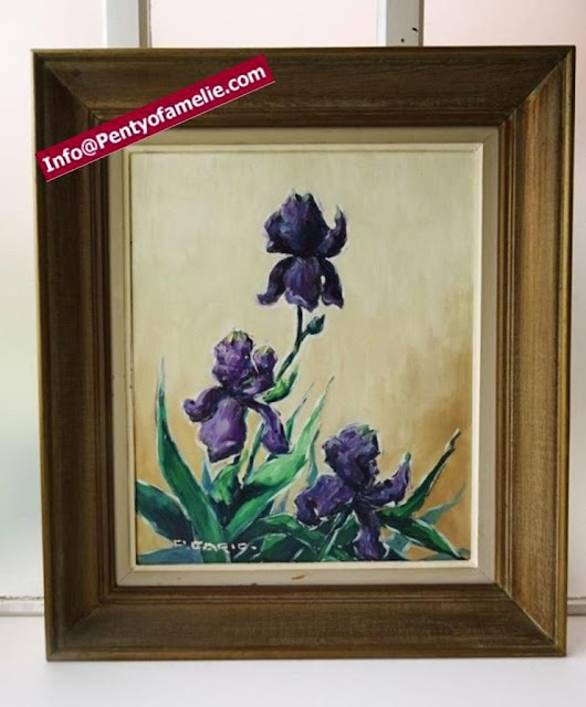 Art Painting depicting Deep Violet Bearded Purple Iris, Vtg large framed knife oil painting, vibrant huge blooms with a velvety Tone. Wooden frame showing up a very nice old patina, signed by Artist