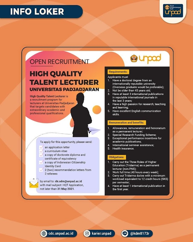 Open Recruitment High Quality Talent Lecturer Universitas Padjajaran