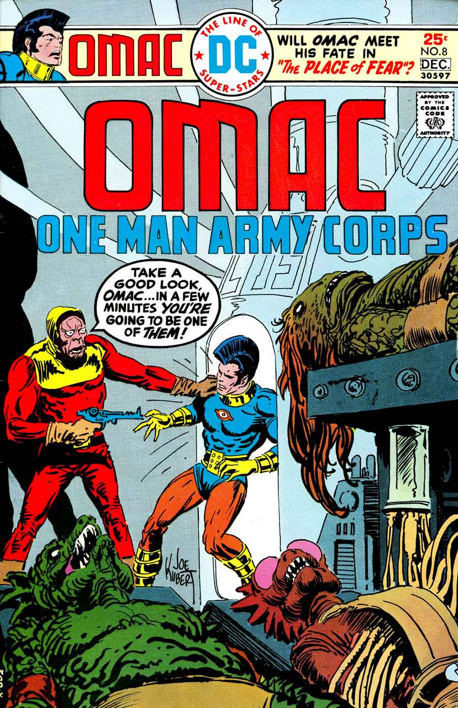 Omac v1 #8 dc bronze age comic book cover art by Joe Kubert