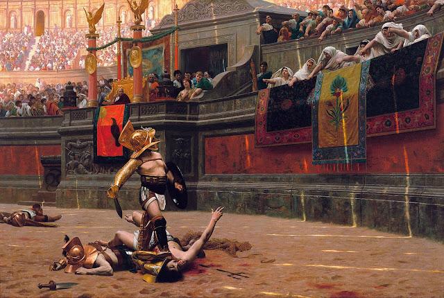 La plebe enardecida pide muerte en el Coliseo romano
