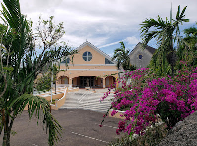 Wide shot of churches side by side with bougainvillea