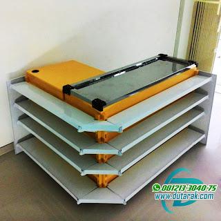 meja kasir kuning putih murah palembang