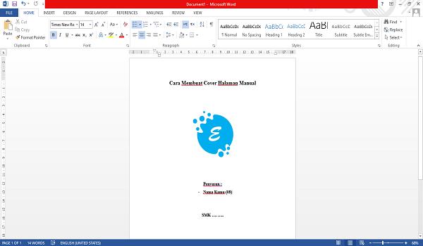 cara membuat cover page manual