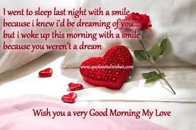 Good Morning Love Quotes: I went to sleep last night with a smile because I know I'd be dreaming of you but I wake up this morning with a smile because you weren't a dream
