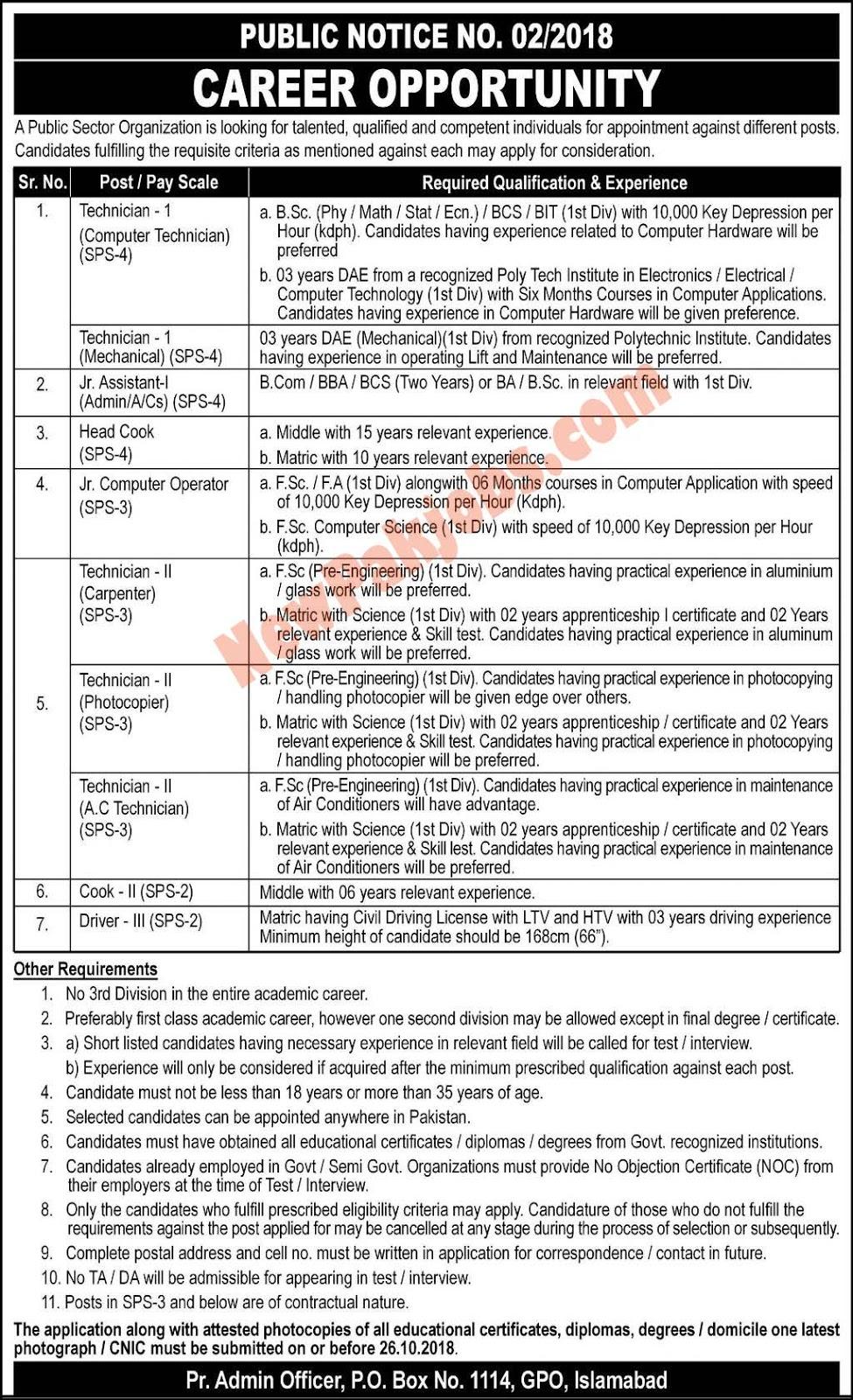 NTS Latest Vacancies in Public Sector Organization Islamabad 2018