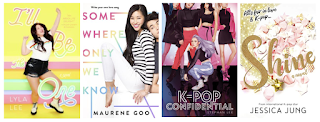 cover images of four books. I'll Be the One, Somewhere Only We Know, K-Pop Confidential, and Shine.