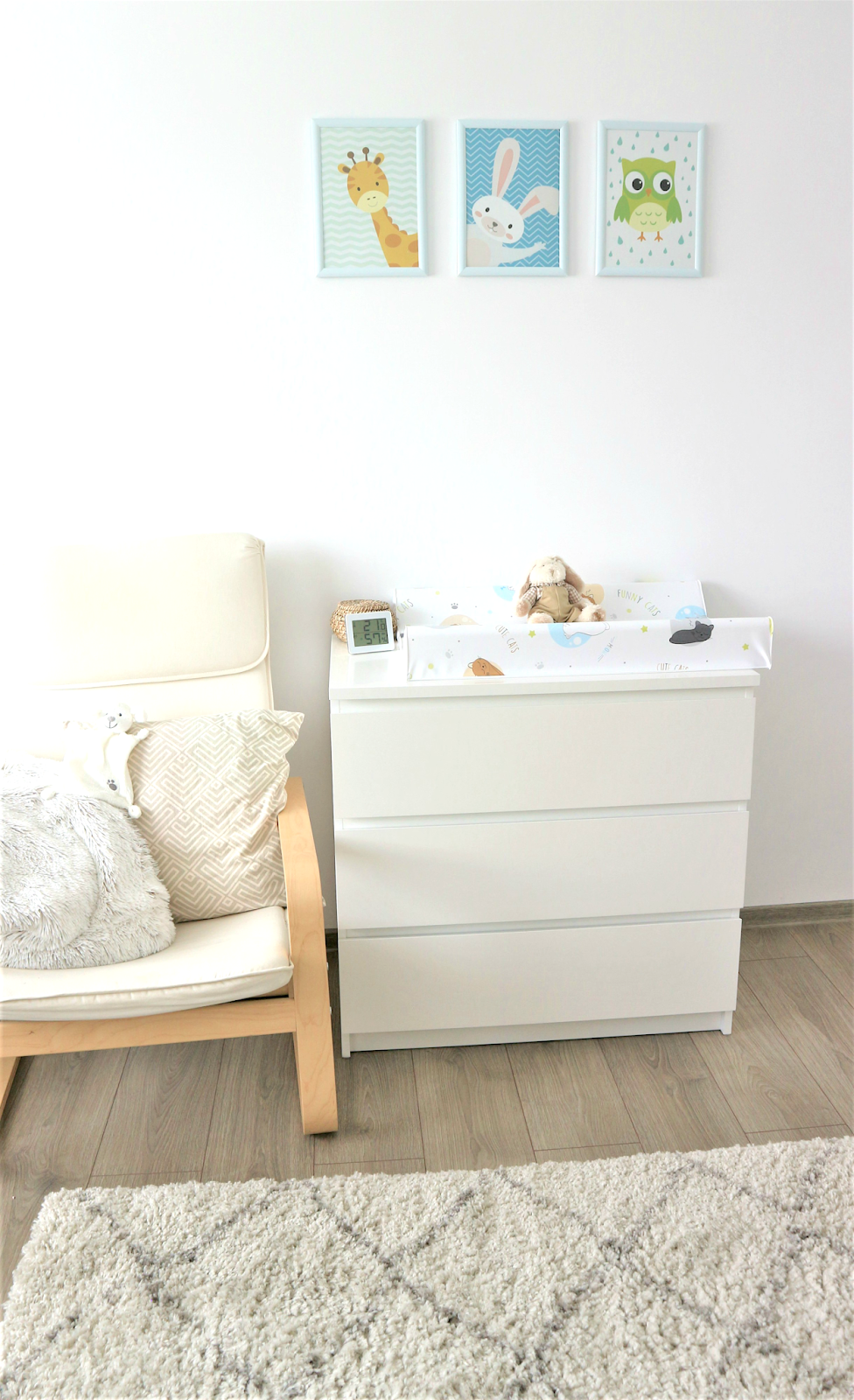 Ikea Malm dresser with changing table and minimalist nursery decor