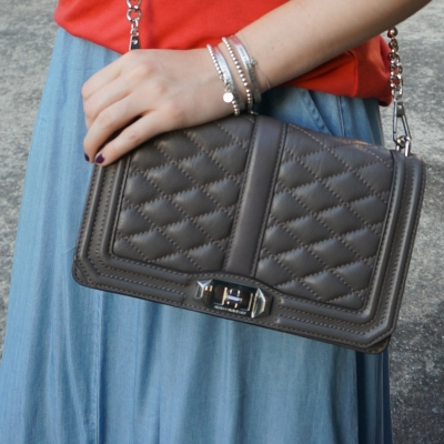chambray maxi skirt, Rebecca Minkoff Love cross body bag in grey | away from the blue