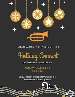 Franklin LIbrary: Renaissance V Brass Quintet - Holiday Concert - Sunday, Dec 1