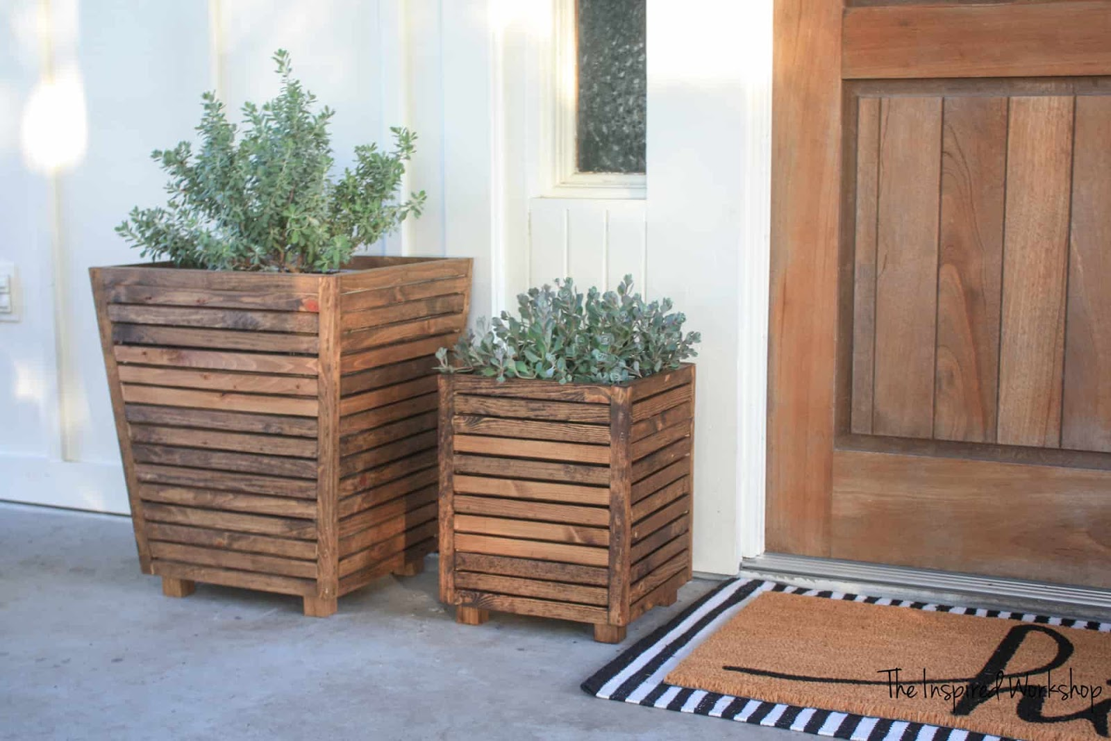 Modern wood slat planter DIY