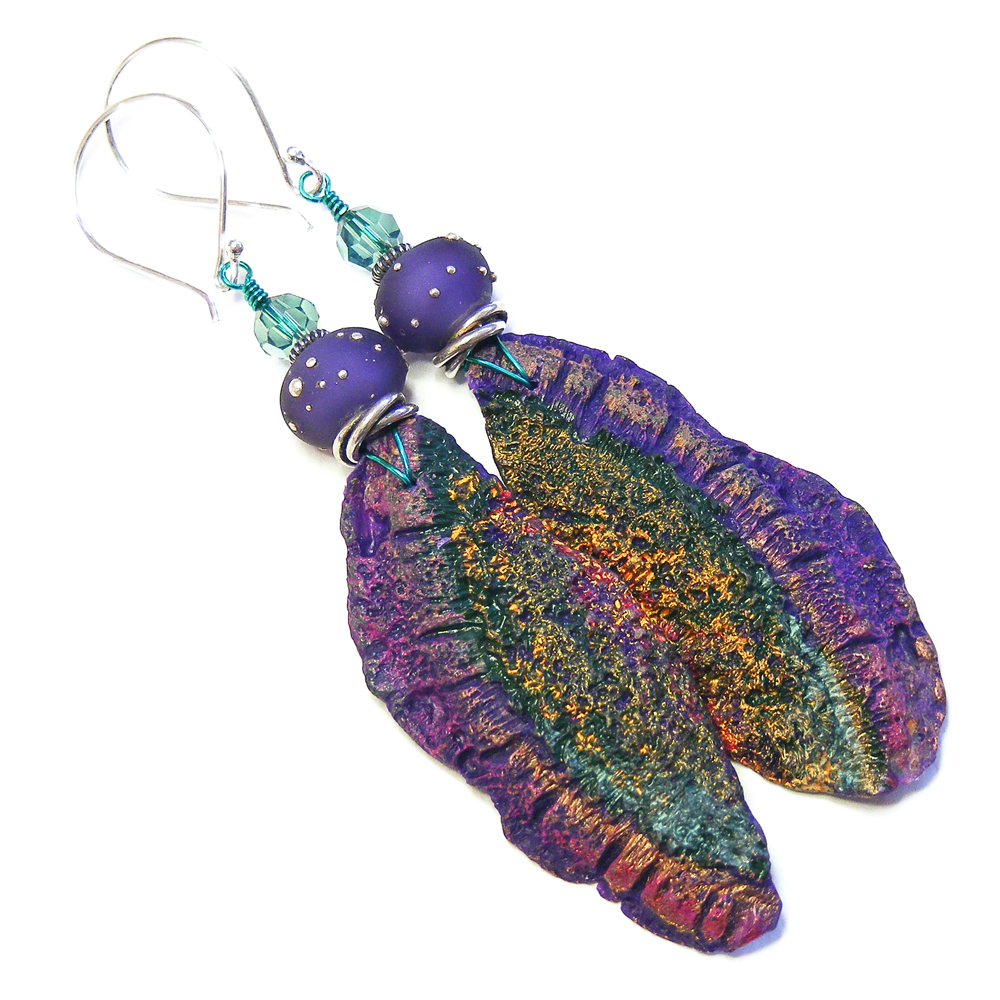 Long Organic Purple Earrings by Erika Price