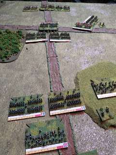 The French attack on the village begins