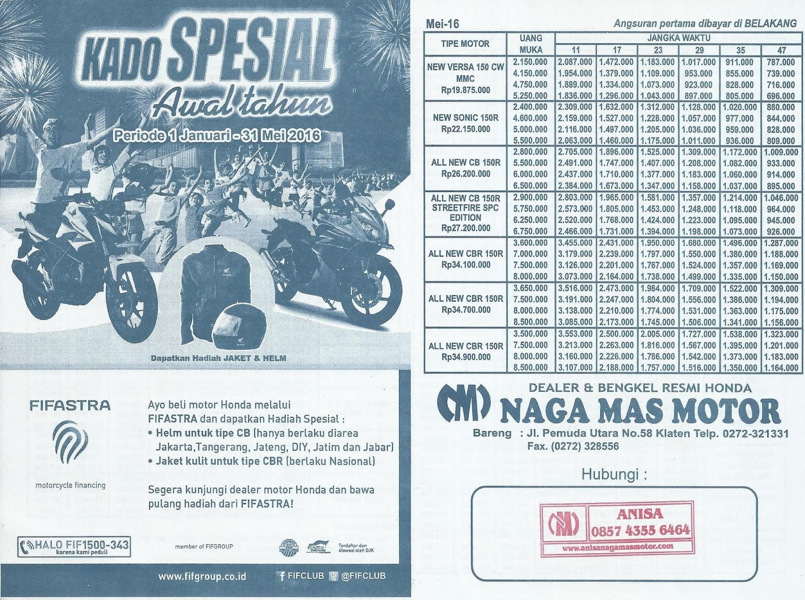 Anisa Counter Sales Dealer Nagamas Motor Klaten All New Beat Sporty Esp Cbs Iss Fusion Magenta Black Salatiga Brosur Kredit Honda Bulan Mei 2016