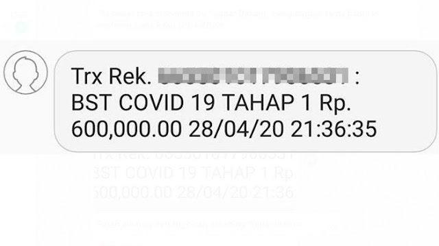 Viral, Rekening Tiba-tiba Bertambah Rp 600 Ribu, Ada Tulisan BST COVID 19 TAHAP 1