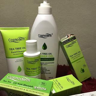cosmoderm, tea tree oil, menghilangkan jerawat, kurangkan jerawat, parut jerawat, kebaikkan tea tree