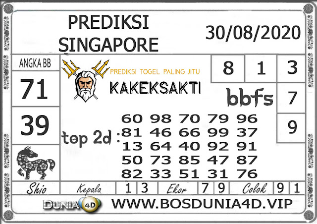 Prediksi Togel SINGAPORE DUNIA4D 30 AGUSTUS 2020