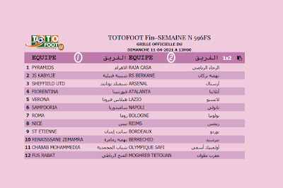 PRONOSTIC TOTOFOOT 12 Fin-SEMAINE N° 596FS