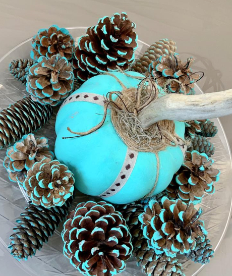 Blue Dip Painted Pinecones Pumpkin Decor