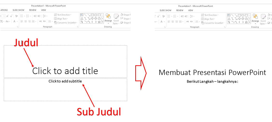 Membuat judul dan sub judul presentasi power point