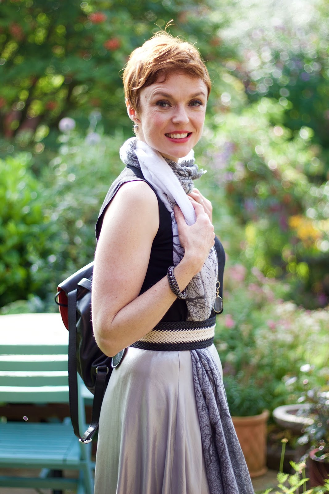 Silver Maxi Skirt & Black one Sleeve Tee, over 40 | Fake Fabulous